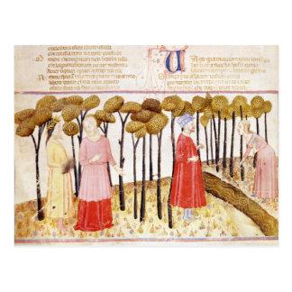 Dante y Virgil en la cumbre del purgatorio Postal