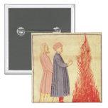 Dante y Virgil reconocen Ulysees Pin Cuadrada 5 Cm