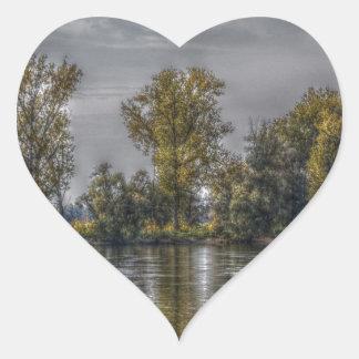 Danube at Straubing/Bavaria Heart Stickers
