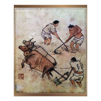 Danwon Nongali Korean rice field plowing Poster