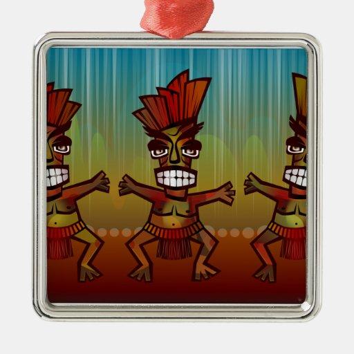 Danza africana tribal adorno navideño cuadrado de metal