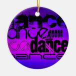Danza; Azul violeta y magenta vibrantes Adorno Navideño Redondo De Cerámica