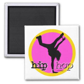 Danza - botón del chica de Hip Hop Imán Cuadrado