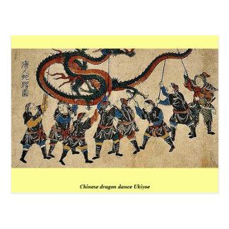 Danza china Ukiyoe del dragón Tarjeta Postal