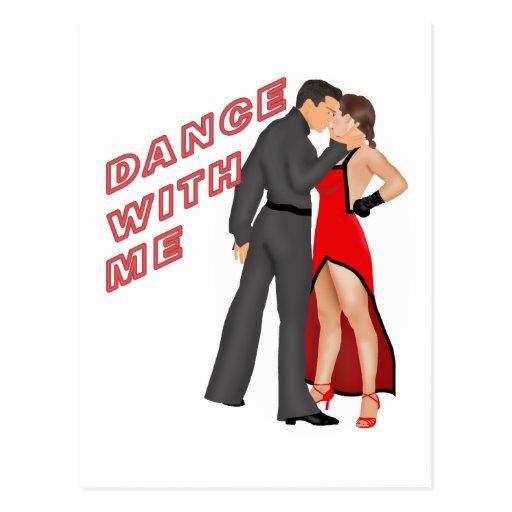 Danza conmigo (rojo) tarjeta postal