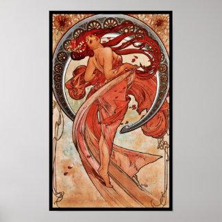 Danza de Alfons Mucha 1898 del arte del vintage Póster