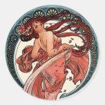 Danza de Alfons Mucha 1898 Pegatina Redonda