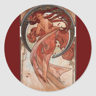 Danza de Alphones Mucha del vintage Etiqueta Redonda
