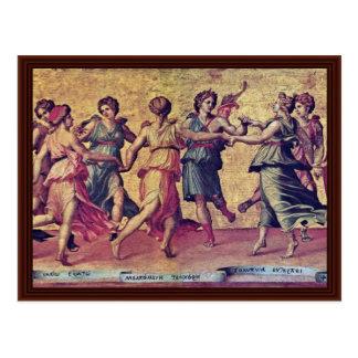 Danza de Apolo con las musas por el romano Julio Tarjeta Postal