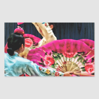 Danza de fan coreana tradicional pegatina rectangular