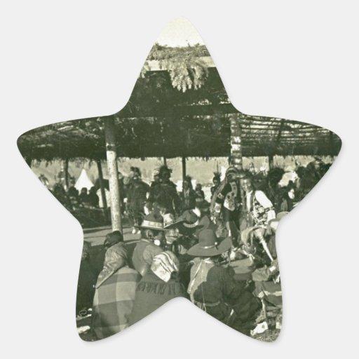 danza de guerra de cabeza llana del nativo america pegatina forma de estrella personalizadas
