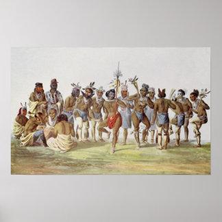 Danza de guerra del Sauks y de los zorros Póster