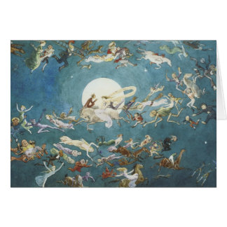 Danza de hadas alrededor de la luna tarjeta