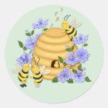 Danza de la abeja etiqueta redonda