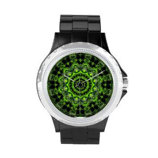 Danza de la araña, Web gris verde abstracto Relojes De Mano