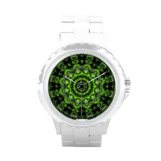 Danza de la araña, Web gris verde abstracto Relojes