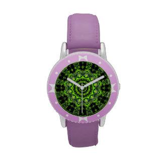 Danza de la araña, Web gris verde abstracto Reloj De Mano