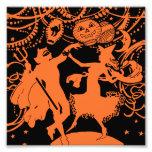 Danza de la bruja del diablo de Halloween del vint Impresiones Fotograficas