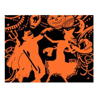 Danza de la bruja del diablo de Halloween del vint Tarjetas Postales