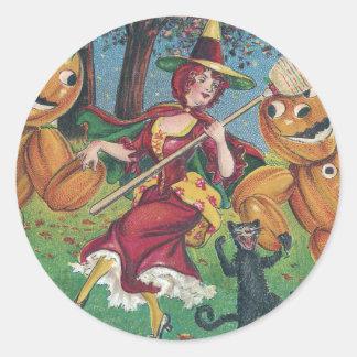 Danza de la bruja y del gato con los hombres pegatina redonda