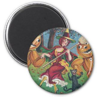 Danza de la bruja y del gato con los hombres veget imán redondo 5 cm