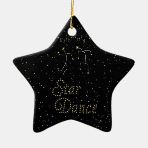 Danza de la estrella adorno navideño de cerámica en forma de estrella
