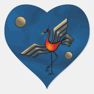 Danza de la grúa calcomania de corazon personalizadas