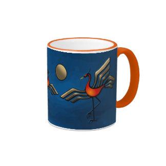 Danza de la grúa tazas de café