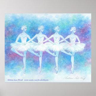Danza de la impresión del arte de los cisnes del b impresiones
