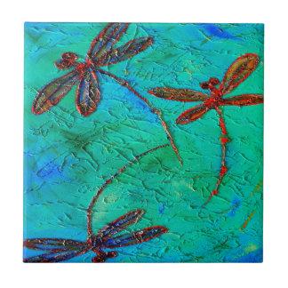 Danza de la libélula azulejo cuadrado pequeño