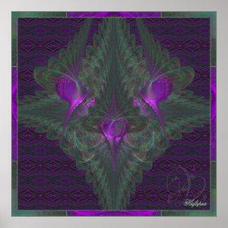 Danza de la mariposa del arte abstracto del amor póster