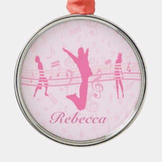 Danza de la música y rosa personalizados del drama adorno navideño redondo de metal