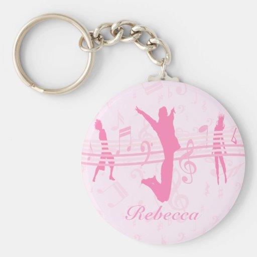 Danza de la música y rosa personalizados del drama llavero personalizado