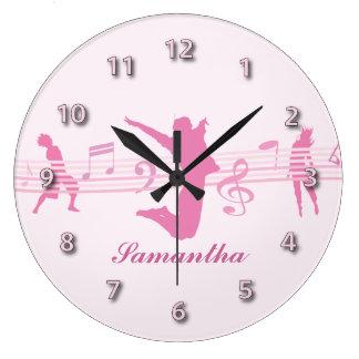 Danza de la música y rosa personalizados del drama reloj de pared