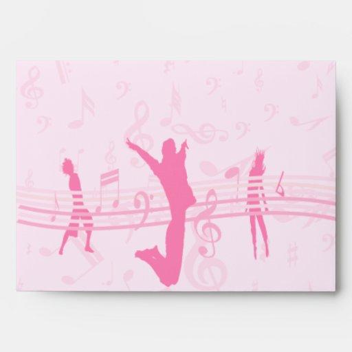 Danza de la música y rosa personalizados del drama sobres