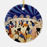Danza de la noche del jazz adorno navideño redondo de cerámica