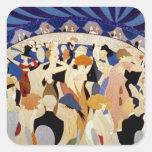 Danza de la noche del jazz pegatina cuadrada