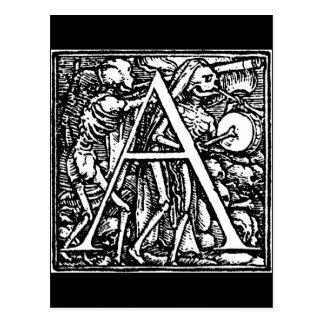 Danza de la postal de la letra A de muerte