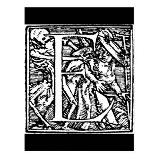 Danza de la postal de la letra E de muerte