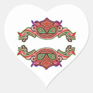 Danza de la rana de la diversión - monstruos pegatina en forma de corazón