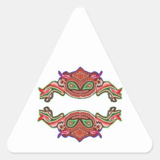 Danza de la rana de la diversión - monstruos pegatina triangular