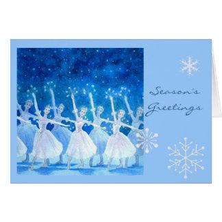 Danza de la tarjeta de felicitación de los copos d