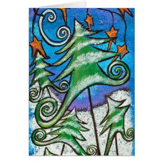 Danza de la tarjeta de Navidad de los árboles de h