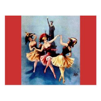Danza de las bailarinas del vintage de NYC Postales