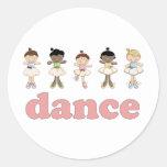 Danza de las bailarinas pegatinas redondas