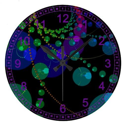 Danza de las esferas II - violeta cósmica abstract Relojes De Pared