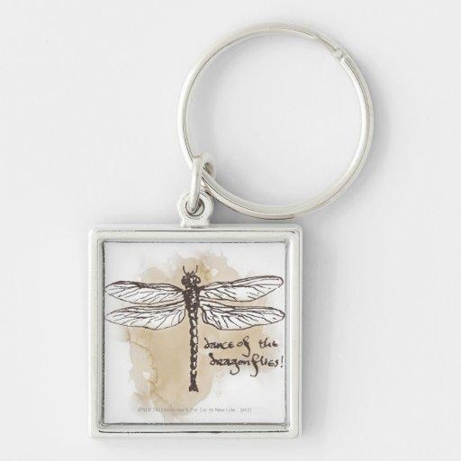 Danza de las libélulas llavero cuadrado plateado