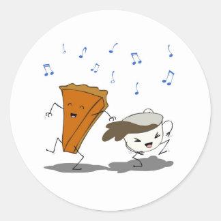Danza de Latte de la calabaza Pegatina Redonda