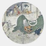 Danza de león por Kitagawa, Utamaro Etiqueta