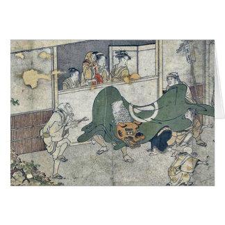 Danza de león por Kitagawa, Utamaro Tarjetón